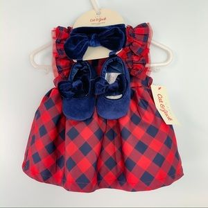 NWT Cat & Jack Red Navy Check dress Baby Girl 0-3m